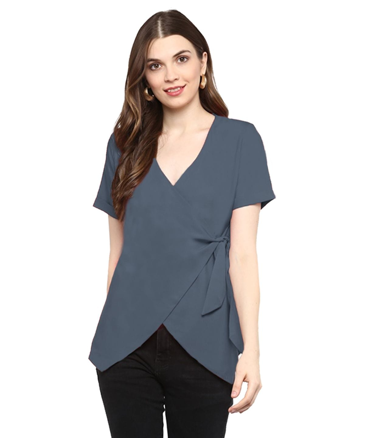 Solid Grey Wrap Maternity Top