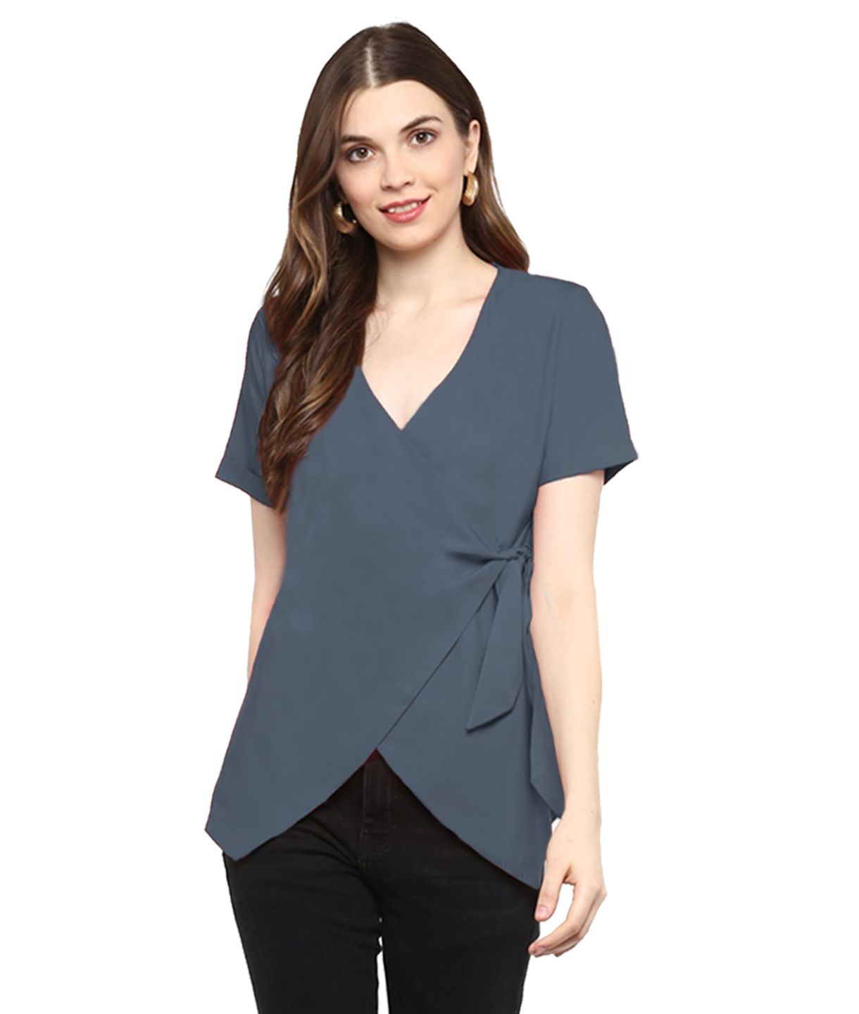 Uptownie Plus Solid Grey Wrap Top