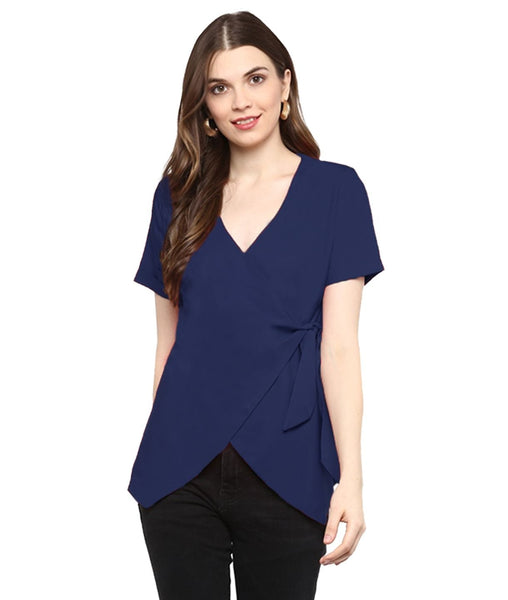 Navy Blue Solid Crepe Wrap Top