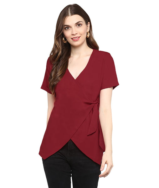 Uptownie Plus Reddish Maroon Solid Crepe Wrap Top