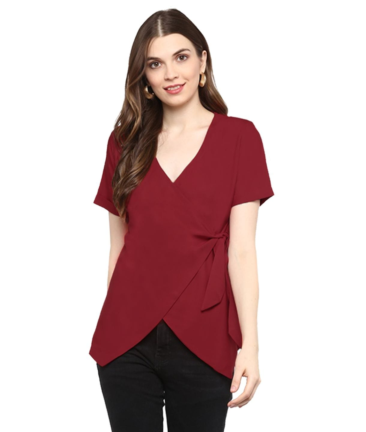 Reddish Maroon Solid Crepe Wrap Top