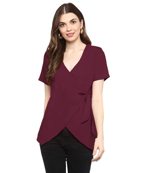 Maroon Solid Crepe Wrap Maternity Top