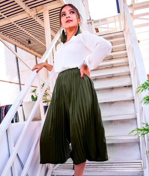 Olive Green Pleated Adjustable Culottes