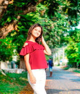 Maroon Solid Crepe Ruffled Cold Shoulder Top