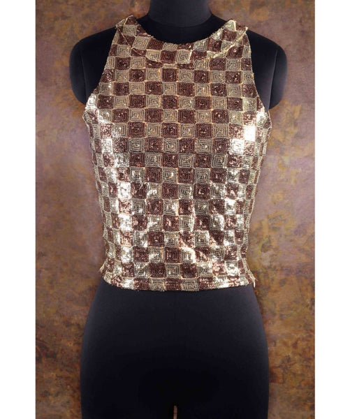 Uptownie X Pearl-Solid Gold Diamond Sequins Top. BUY 1 GET 3