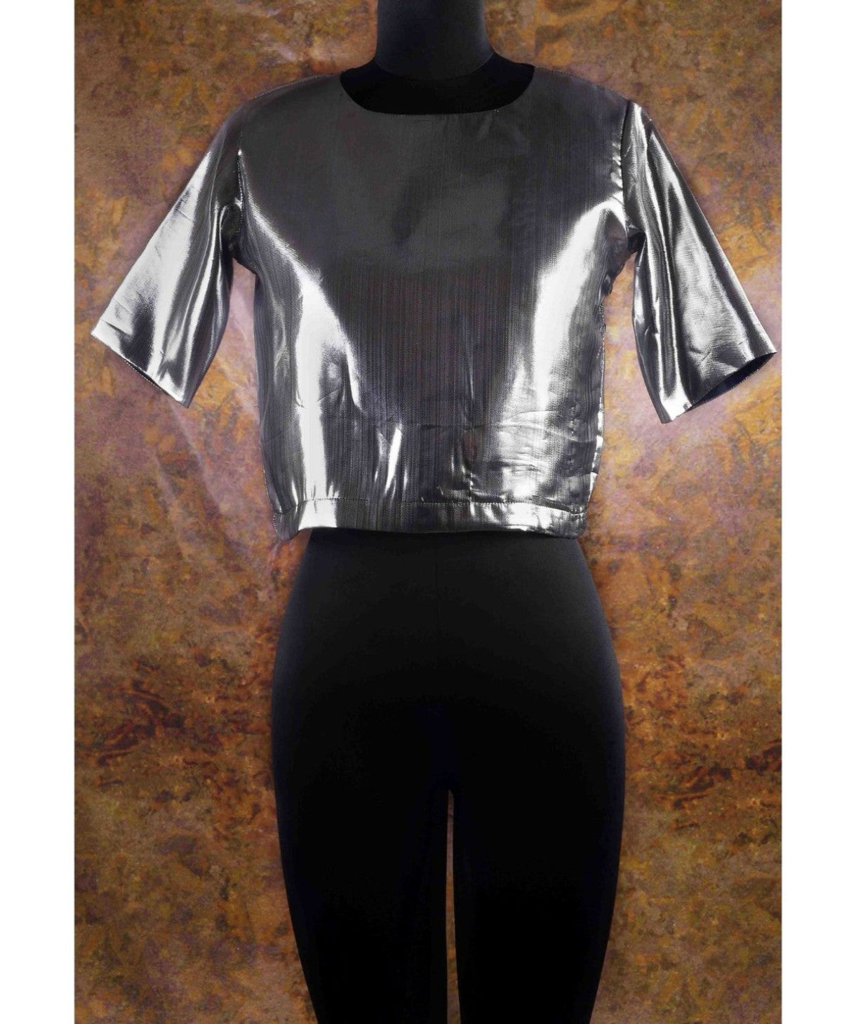 Uptownie X Pearl-Solid Silver Boxy Top. EXTRA 18% OFF