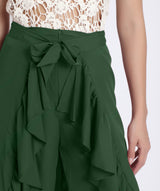 Uptownie Plus Solid Green Flared Ruffled Pants 3 summer sale