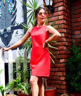 Solid Red Cotton Dress