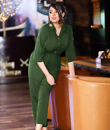 Uptownie Army Green Roll Up Jumpsuit