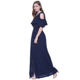 Ruffled Buttoned Cold Shoulder Maxi Dress
