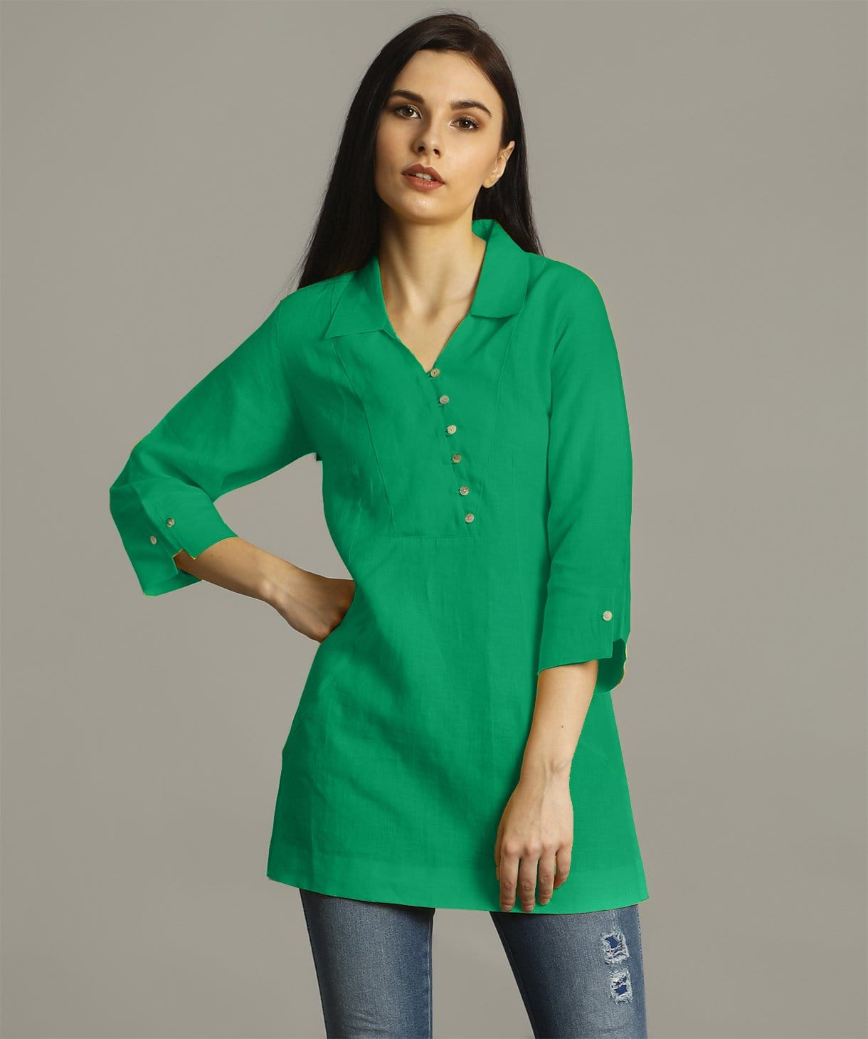 Green Polo Neck Linen Tunic - Uptownie