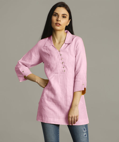 Baby Pink Polo Neck Linen Tunic