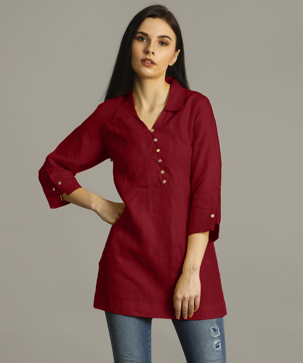 Uptownie Plus Maroon Polo Neck Linen Tunic. FLAT 200 OFF