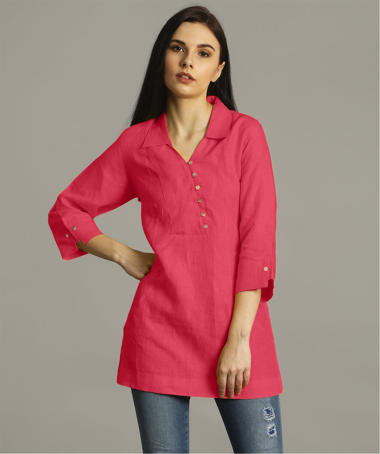 Uptownie Plus  Pink Polo Neck Linen Tunic 3 trendsale