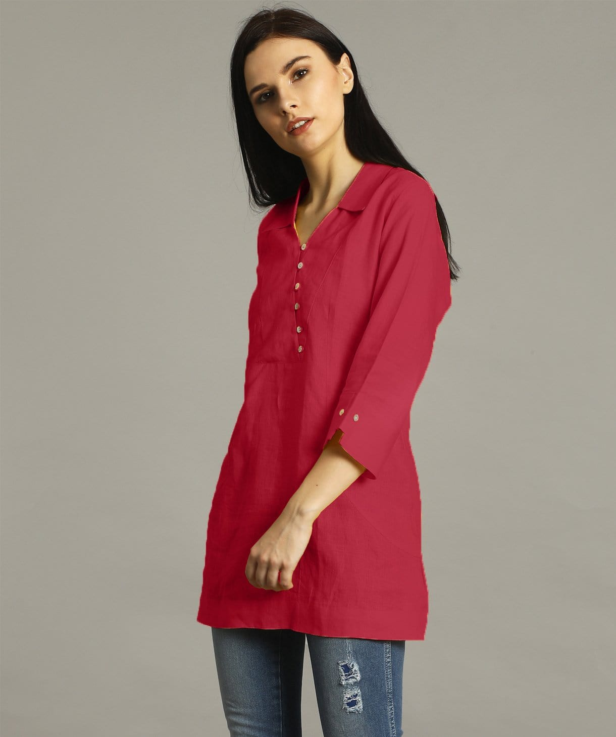 Uptownie Plus  Pink Polo Neck Linen Tunic 1 trendsale