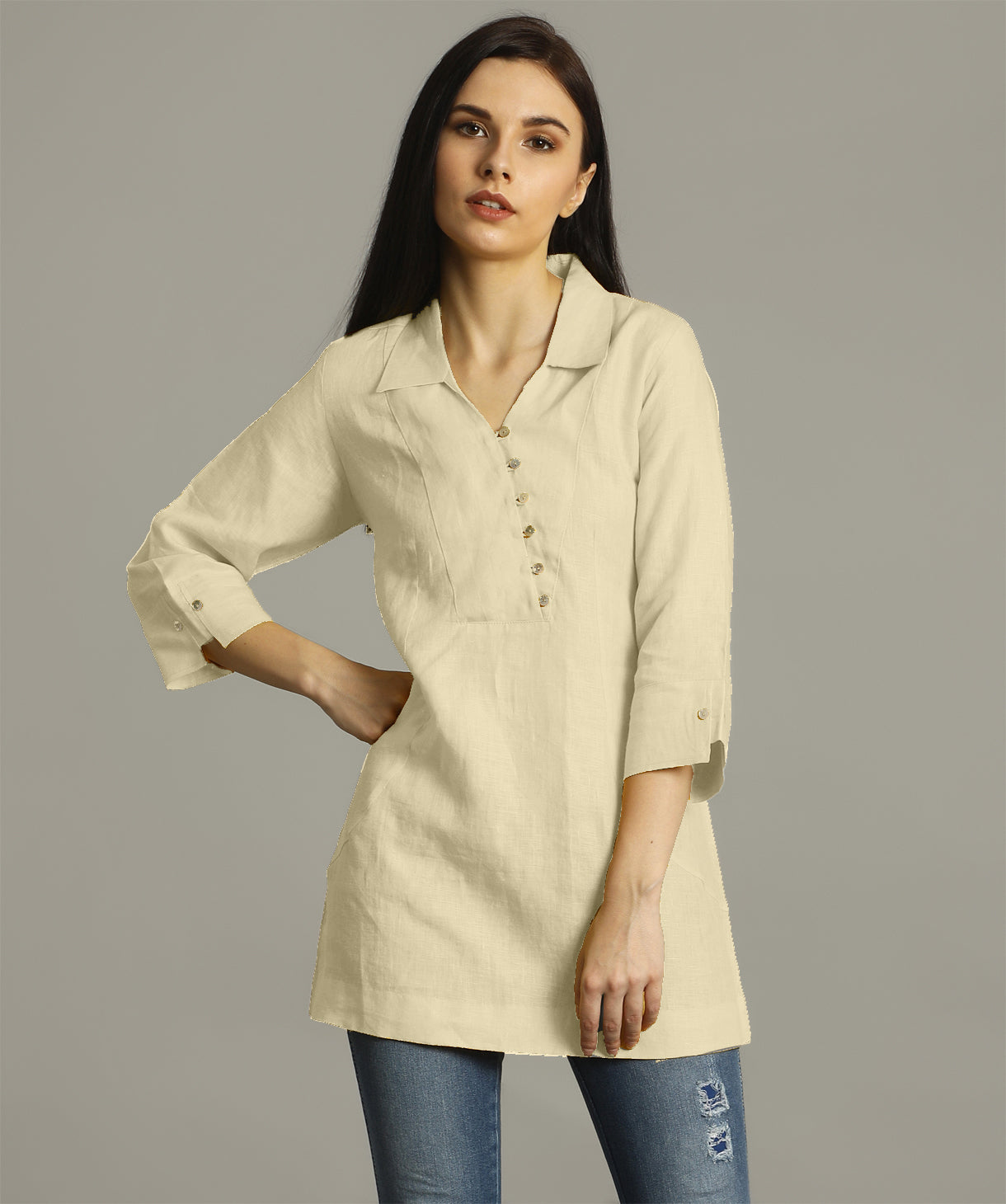 Uptownie Plus Off White Polo Neck Linen Tunic. FLAT 200 OFF