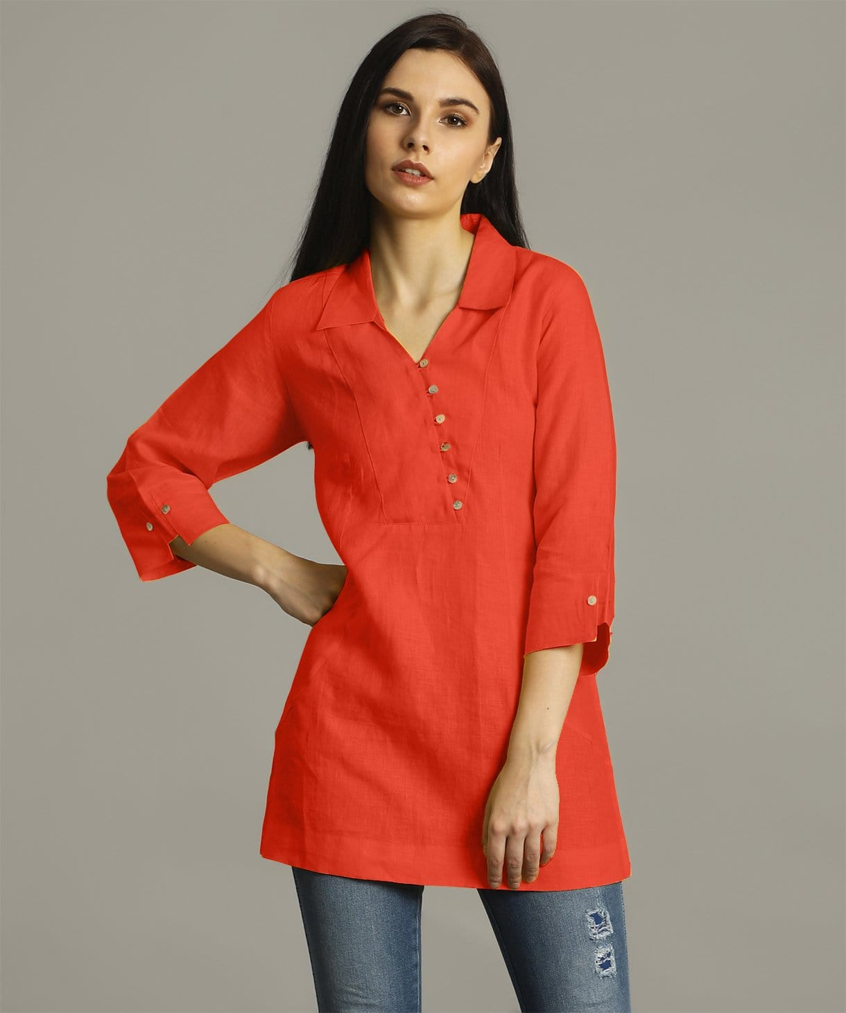 Uptownie Plus Rust Polo Neck Linen Tunic 1 summer sale