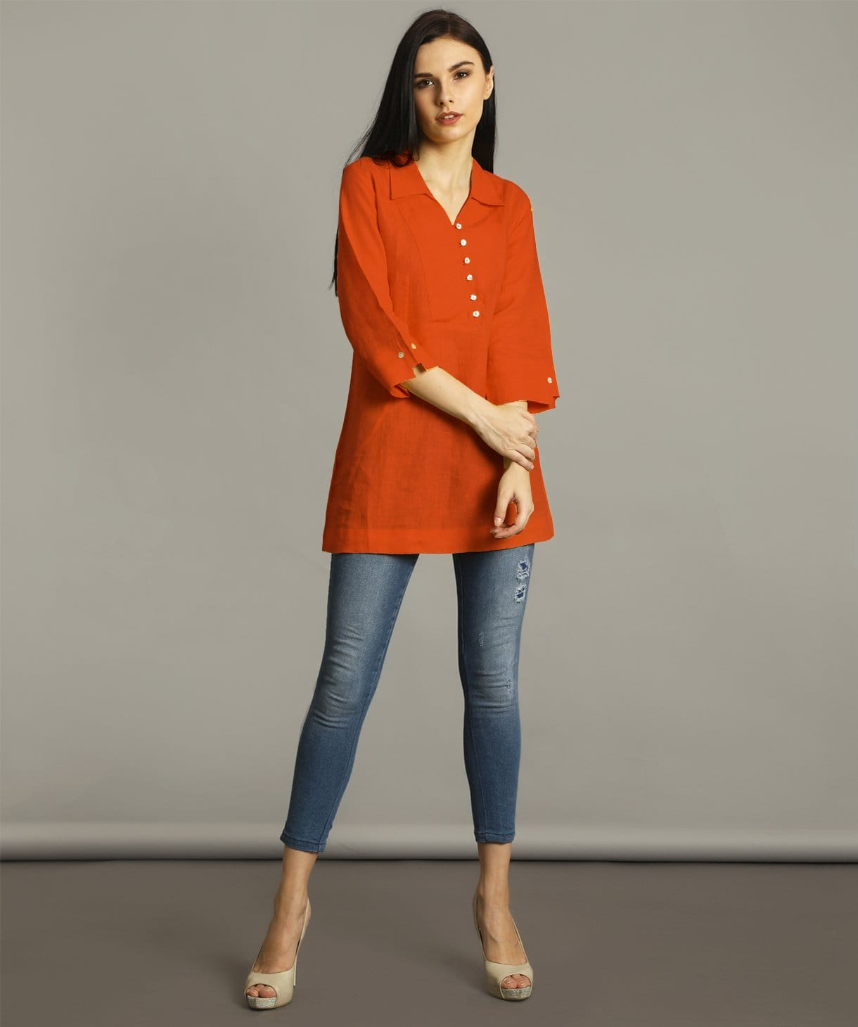 Rust Polo Neck Linen Tunic