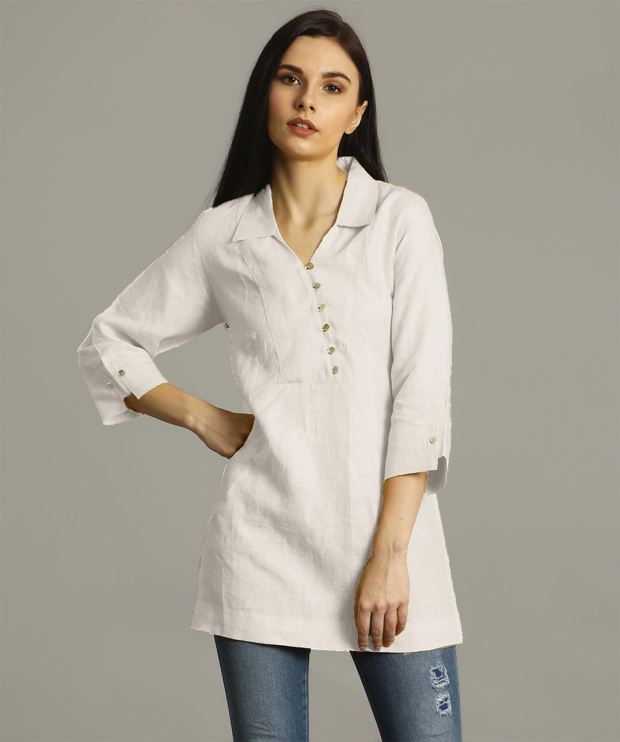 Uptownie Plus White Polo Neck Linen Tunic. FLAT 200 OFF