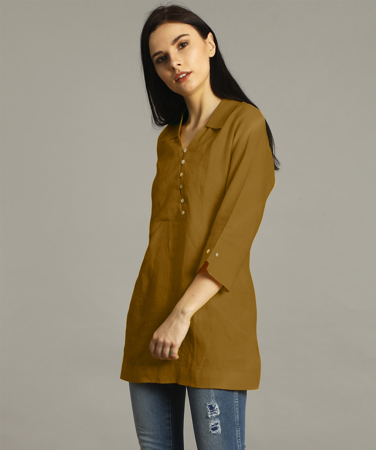 Uptownie Plus Yellow Ochre Polo Neck Linen Tunic. FLAT 200 OFF