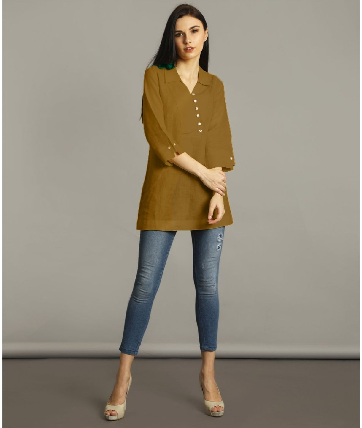 Uptownie Plus Yellow Ochre Polo Neck Linen Maternity Tunic
