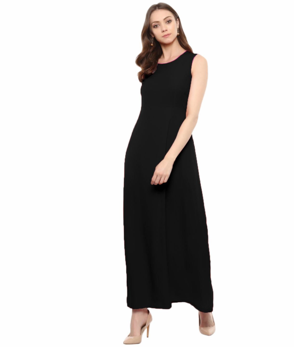 Uptownie Plus Black Solid Sleeveless Crepe Maxi Dress/Gown