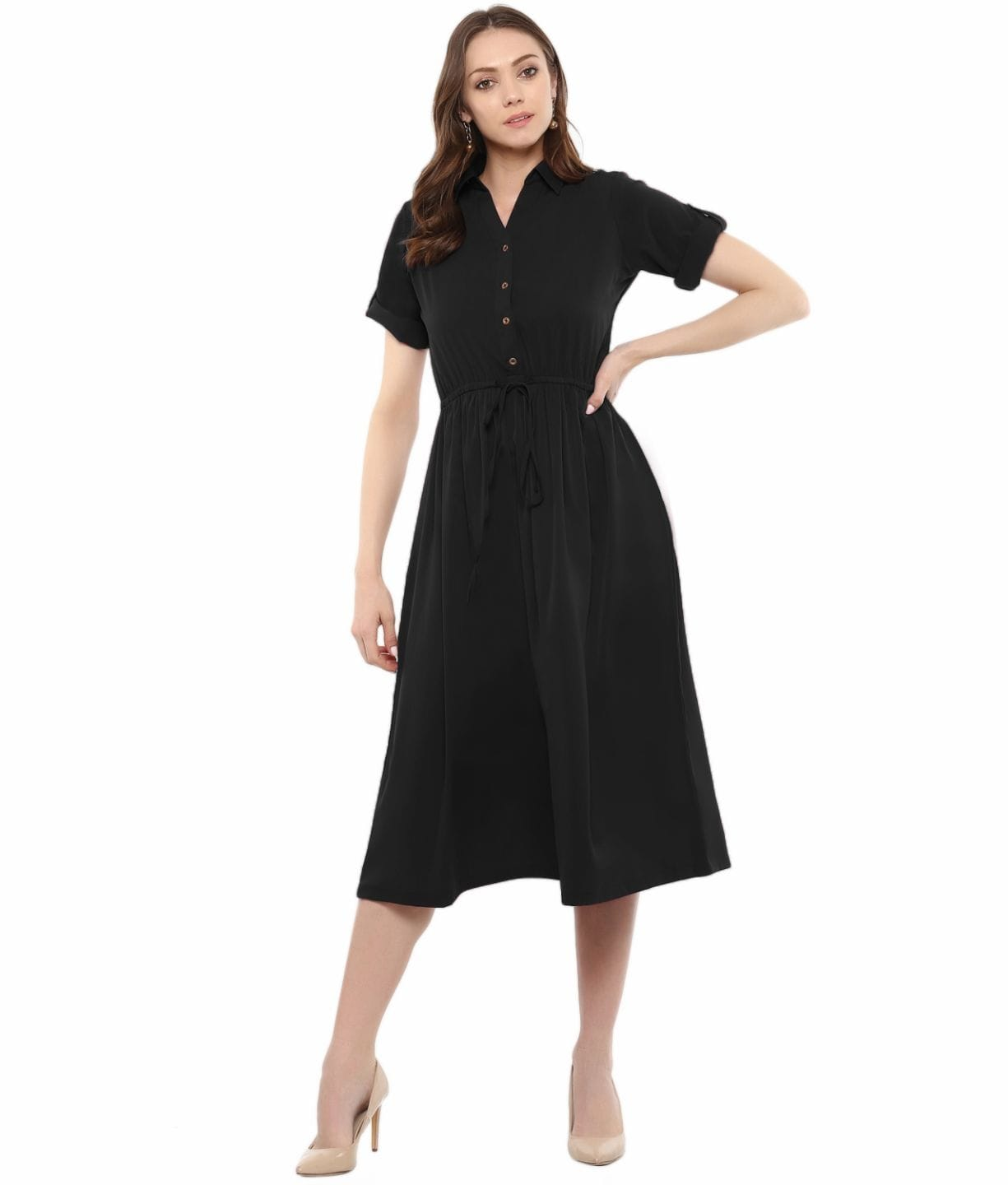 Black Solid Crepe Collar 3/4th Sleeves Skater Dress
