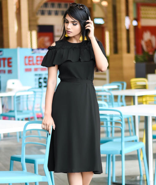Black Solid Crepe Ruffled Cold Shoulder Skater Dress