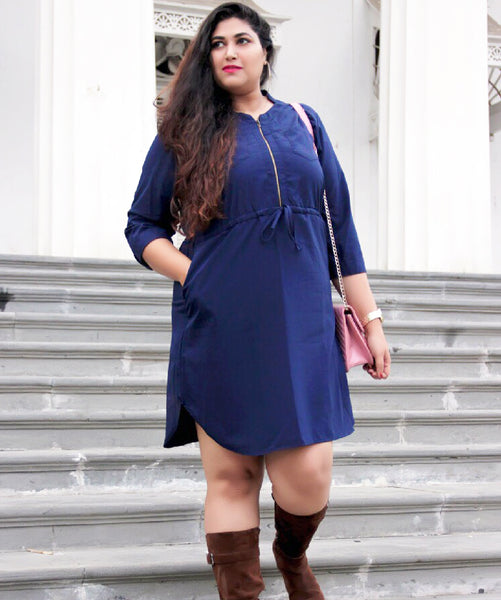 Solid Navy Blue Front Zipper Dress - Uptownie