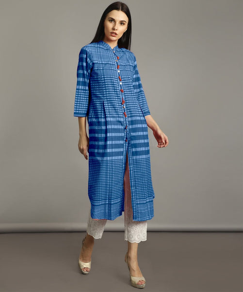 Blue Handloom Cotton Check Kurti
