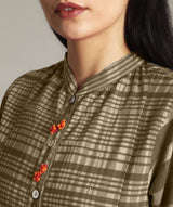 Brown Handloom Cotton Check Kurti