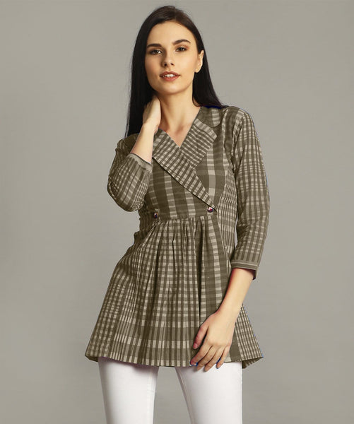 Uptownie Plus Brown Checkered Wrap Handloom Tunic 1 trendsale