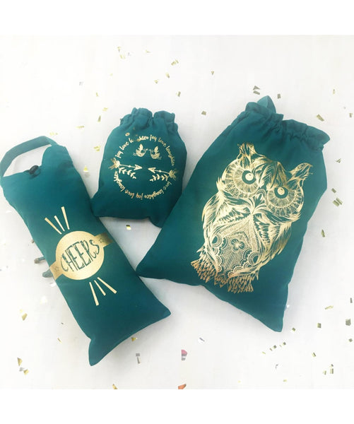 Uptownie X Whistling Yarns Shimmer & Sparkle Bags (Gold on Green) - Uptownie
