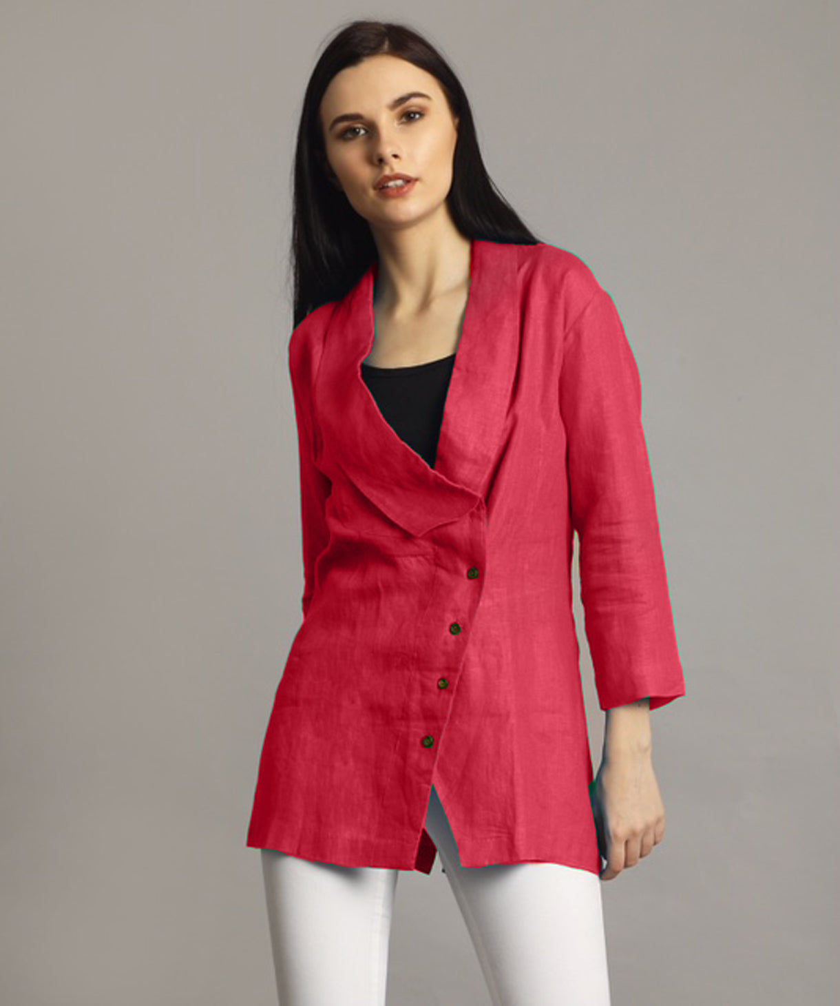 Uptownie Plus Pink Linen Jacket Style Tunic 1 clearance sale
