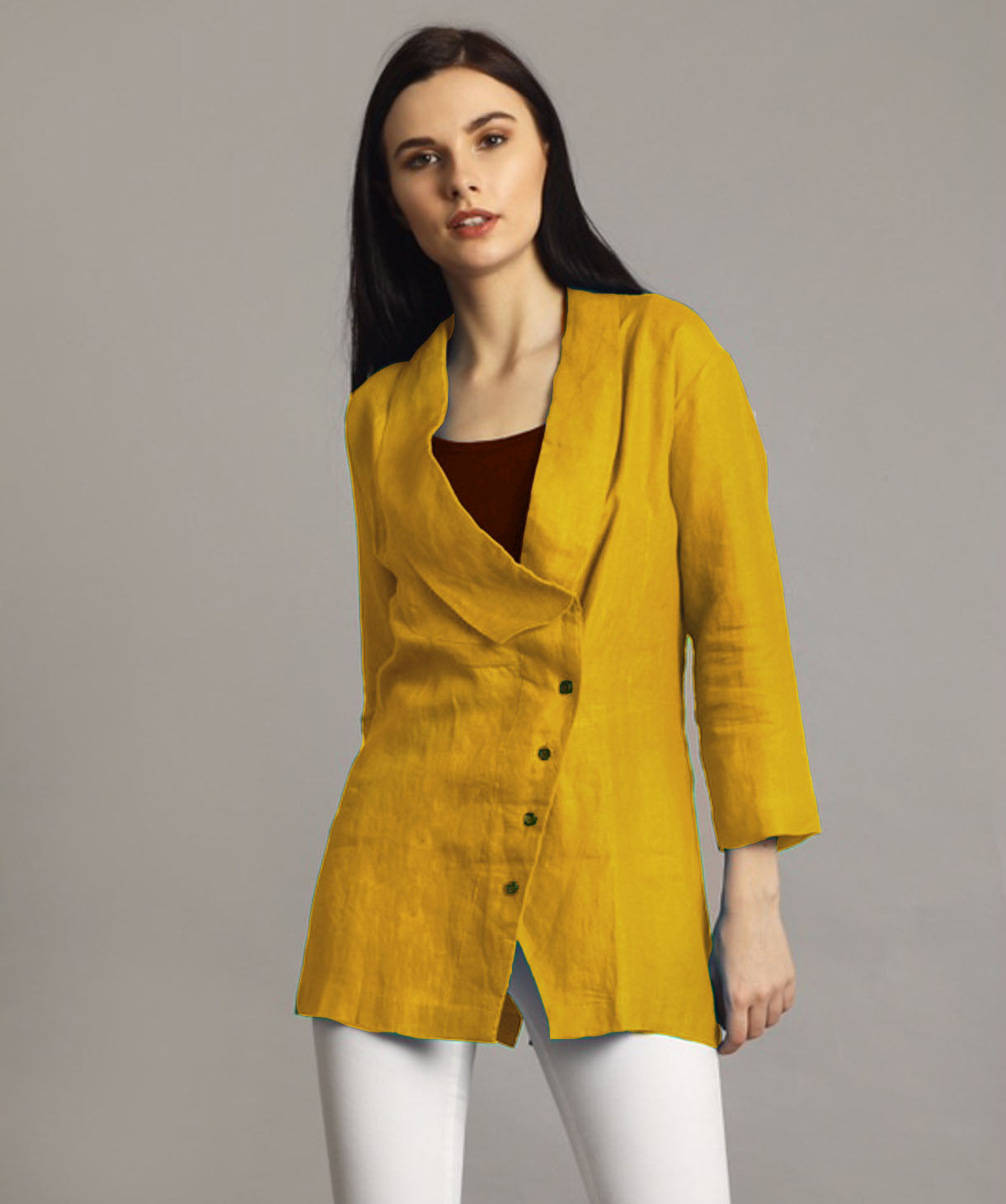 Uptownie Plus Mustard Linen Jacket Style Tunic 1 clearance sale