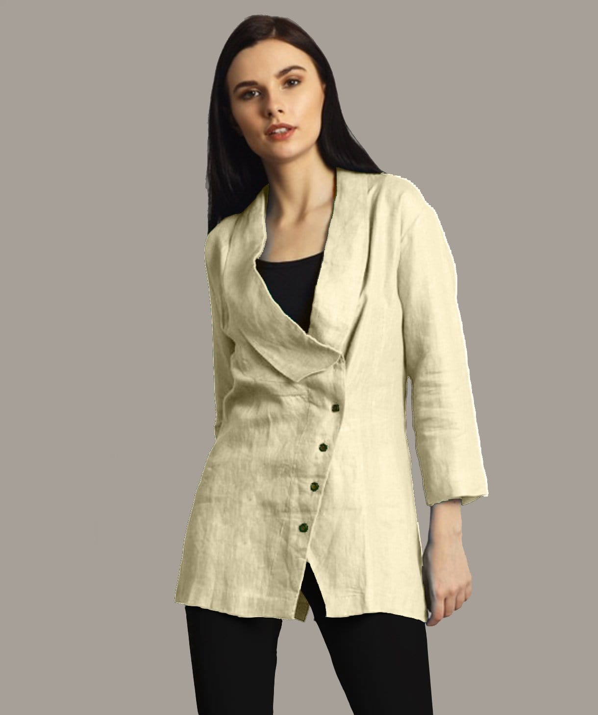 Uptownie Plus Off White Linen Jacket Style Tunic. FLAT 200 OFF