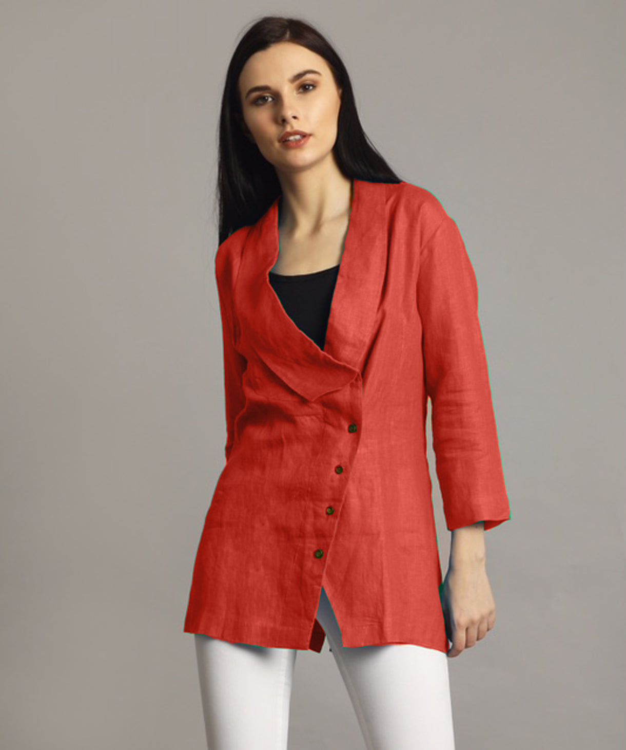 Uptownie Plus Coral Linen Jacket Style Tunic 1 trendsale