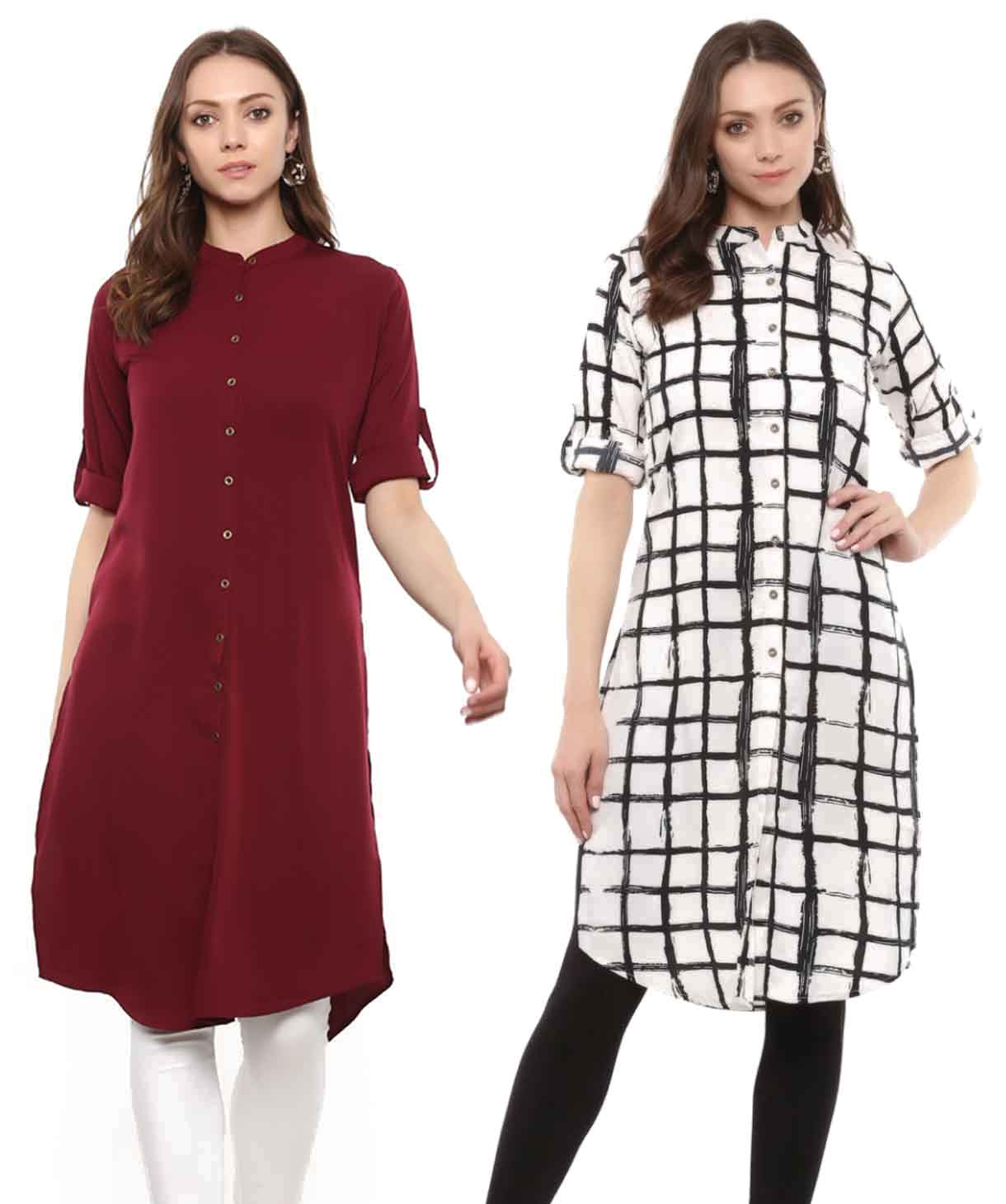 Check & Solid Kurta Super Saver Combo