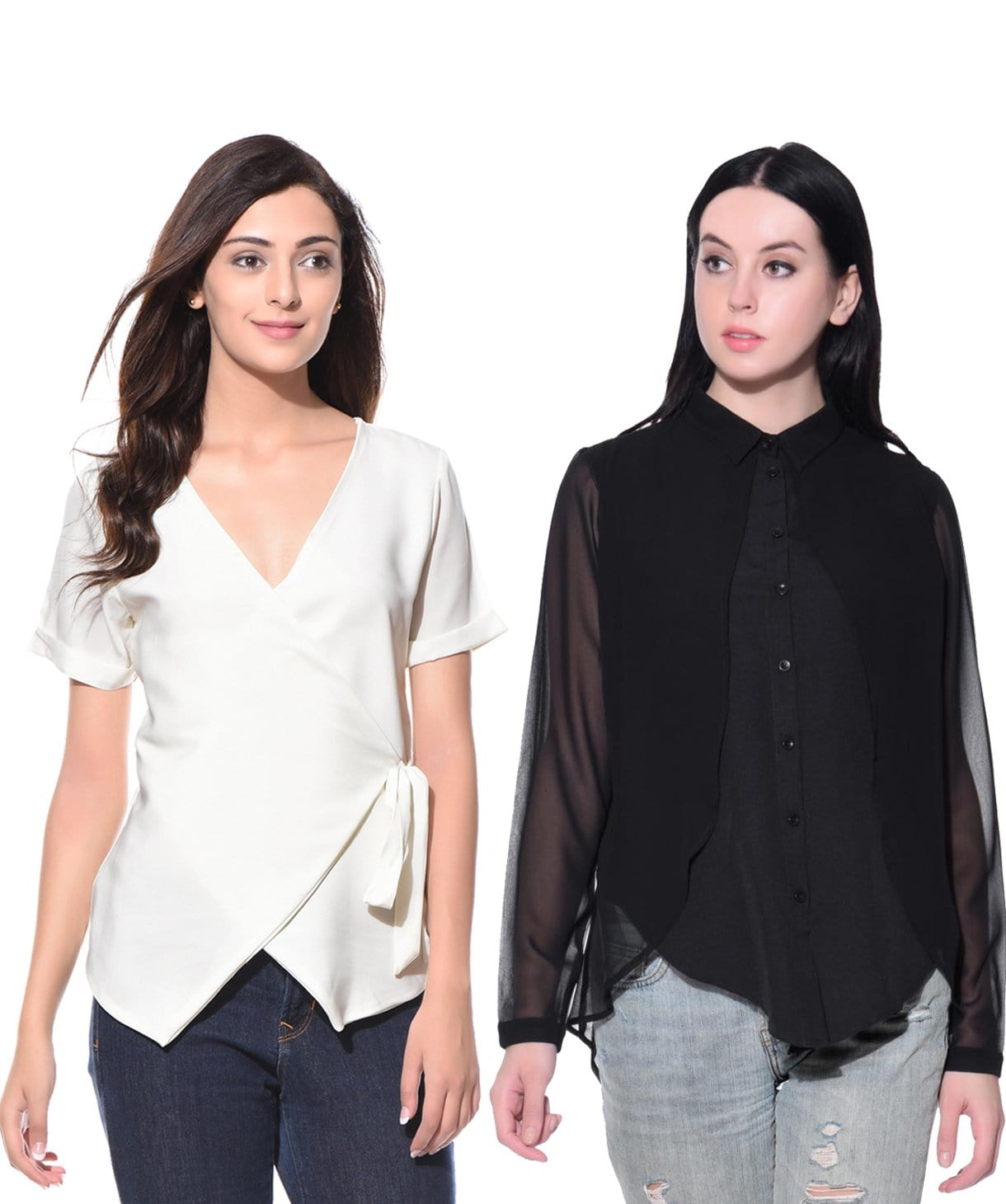 Black White Workwear Tops Super Saver Combo - Uptownie