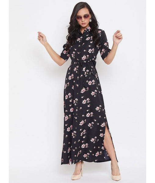Printed Black Floral Collar Buttoned Down Shirt Maxi Dress