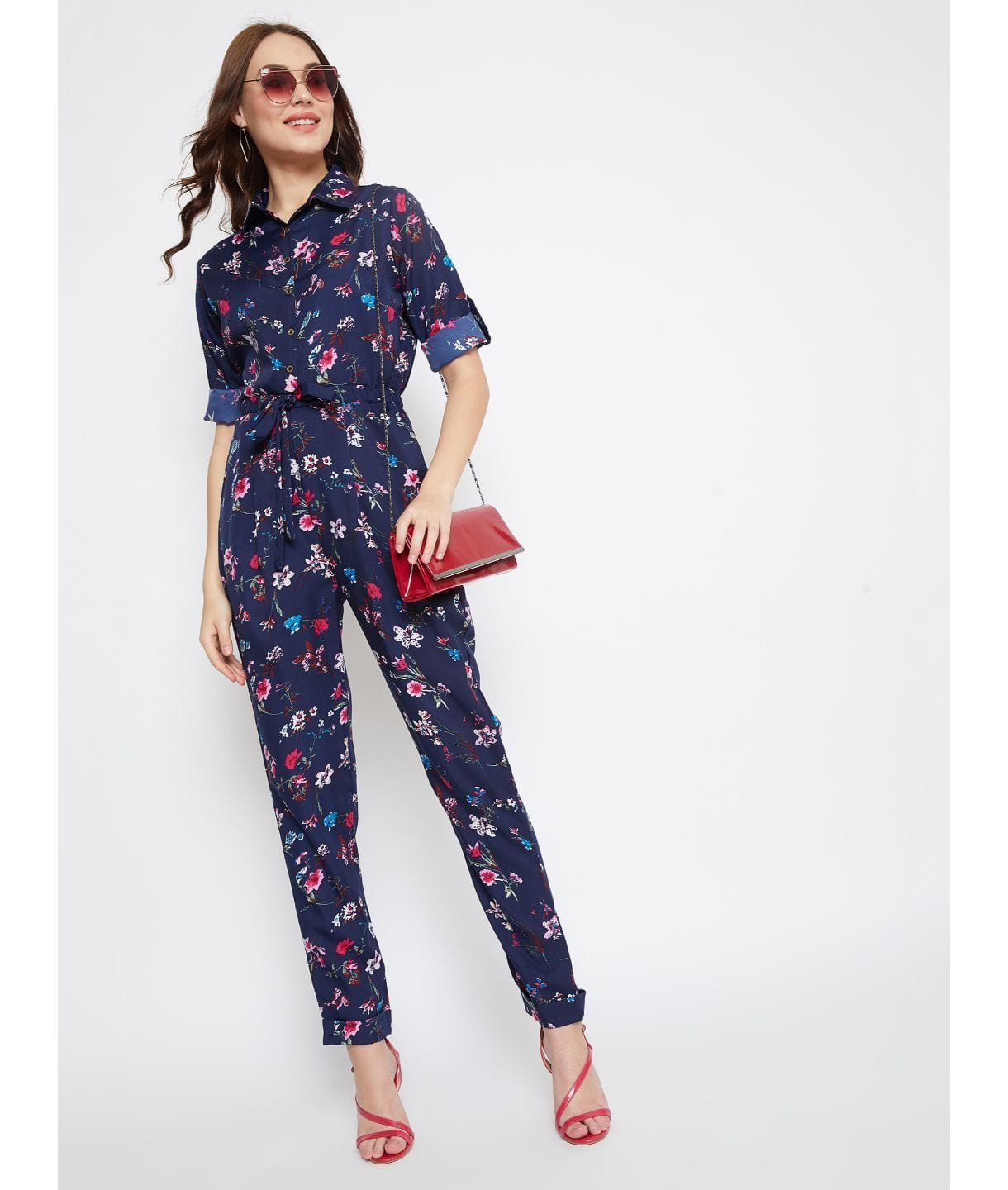 Printed Roll Up Jumpsuit - Uptownie