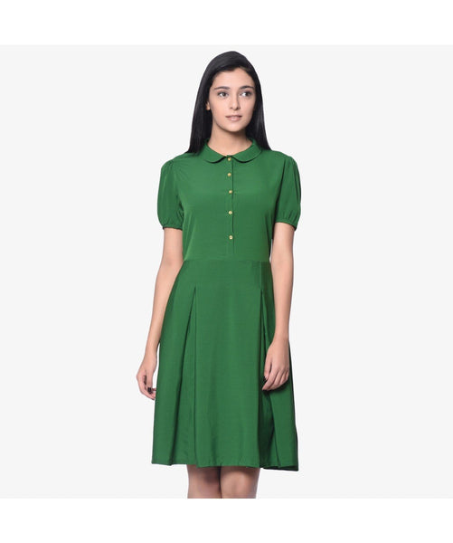 Solid Green Peterpan Collar Skater Dress - Uptownie