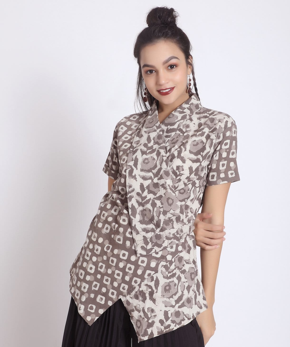 Printed Brown Linen Wrap Shrug