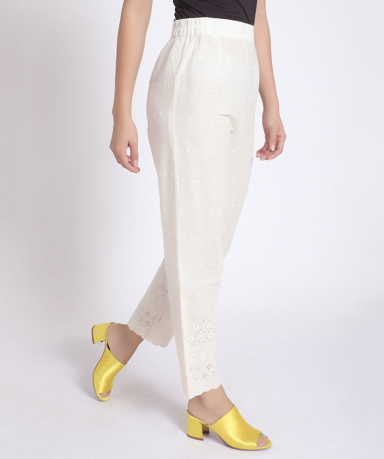 Solid White Chikon Pants/Palazzos