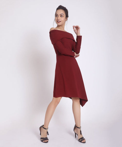Solid Maroon Off Shoulder Knitted Dress - Uptownie