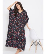 Comfortable Black Printed Kaftan Which Doubles Up As A Nightie