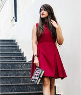Solid Maroon Box Pleated Skater Dress