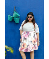 Uptownie Plus X Pearl-Suede and Sugary Floral Skirt - Uptownie