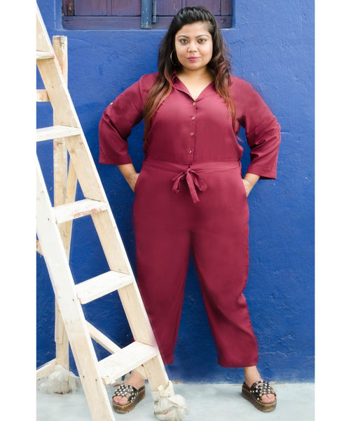 Uptownie Plus Maroon Roll Up Jumpsuit. BUY 1 GET 3
