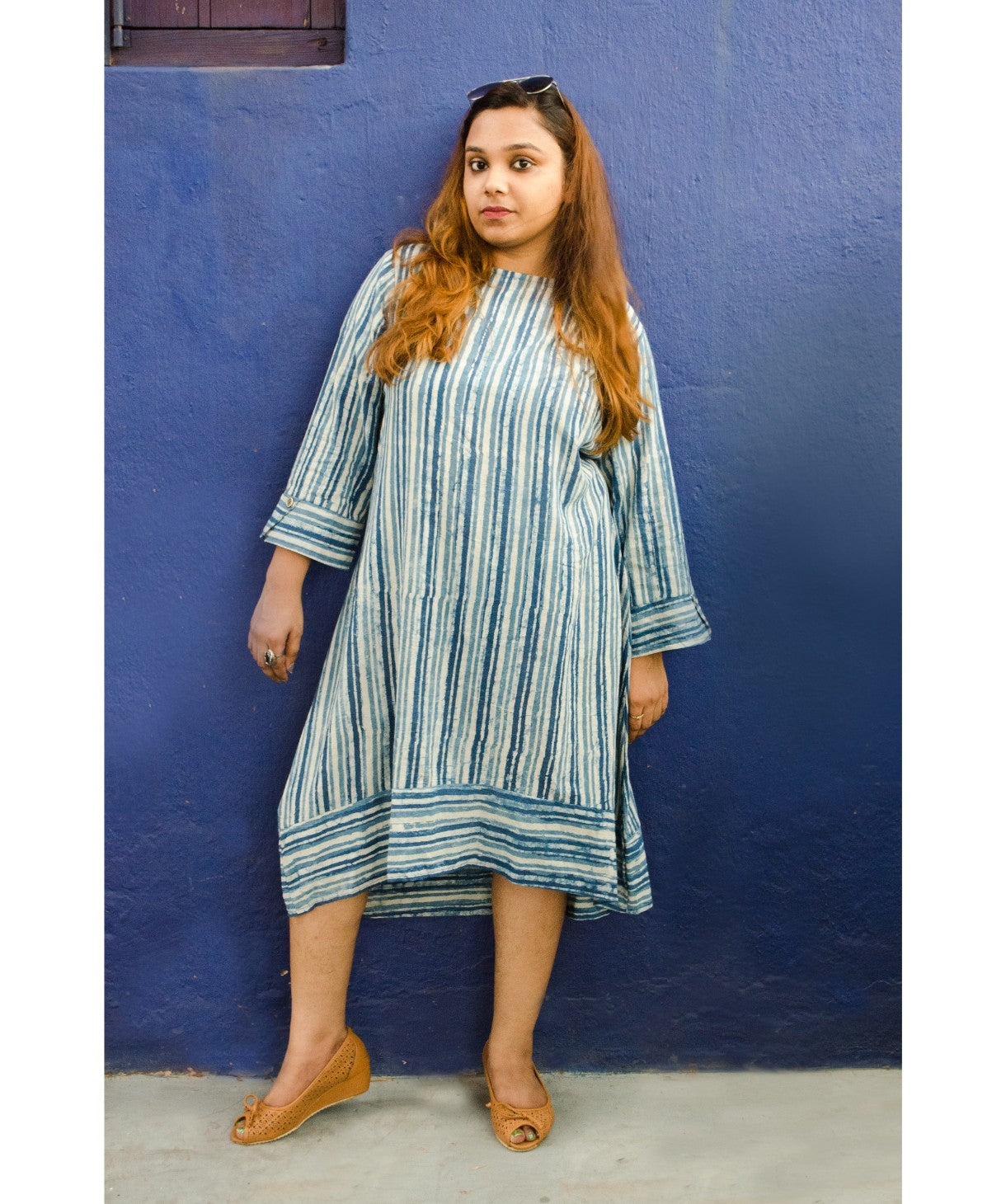 Uptownie Plus Striped Blue Cotton Kurti/Dress - Uptownie
